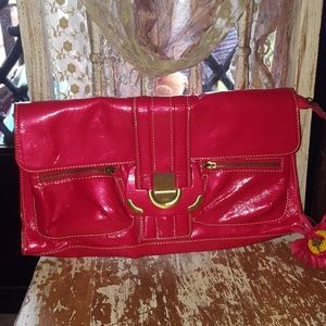 CHINESE LAUNDRY large shiny red clutch purse